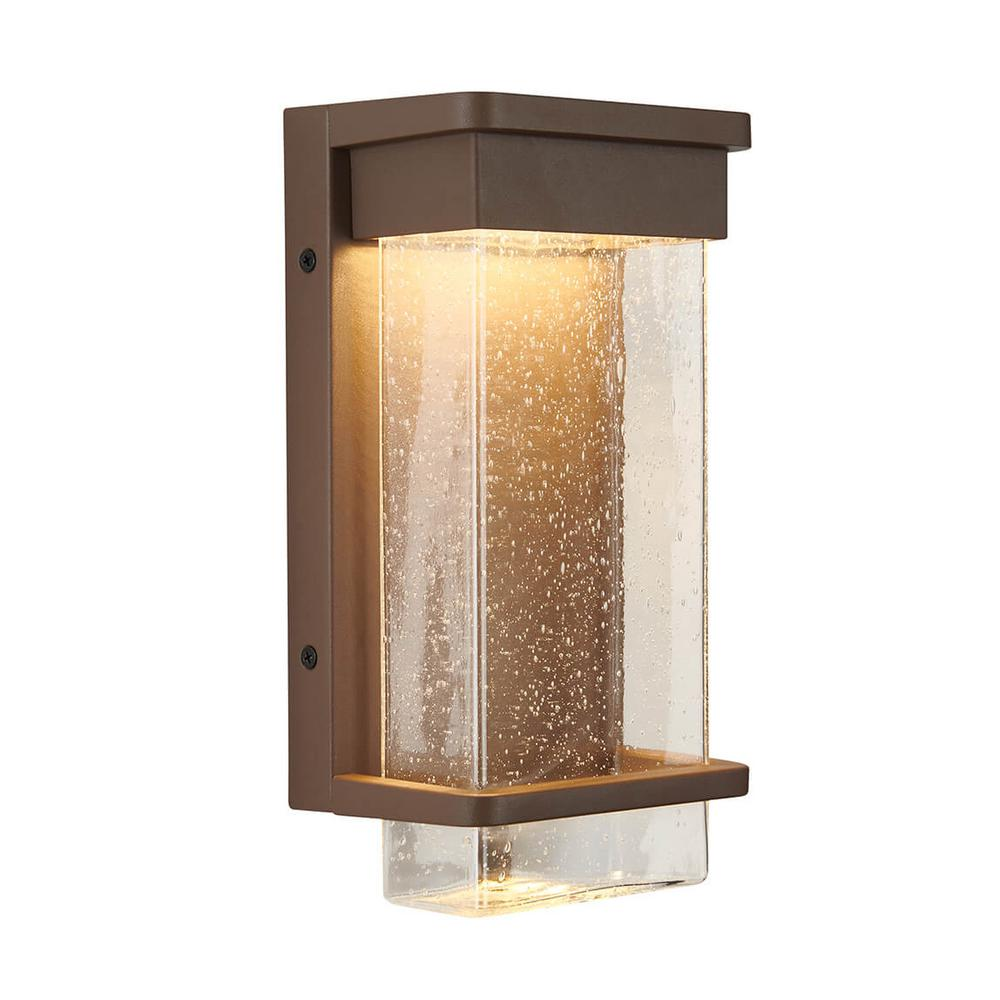 Artika Medium Para Bronze Outdoor Integrated LED Wall Mount Lantern with Bubble Glass