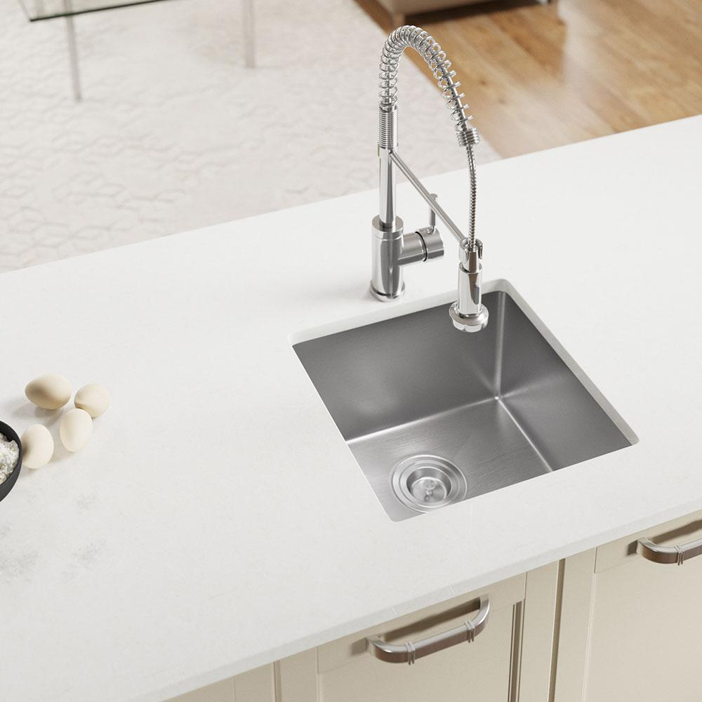 MR Direct Undermount Stainless Steel 17 in. Single Bowl Kitchen Sink