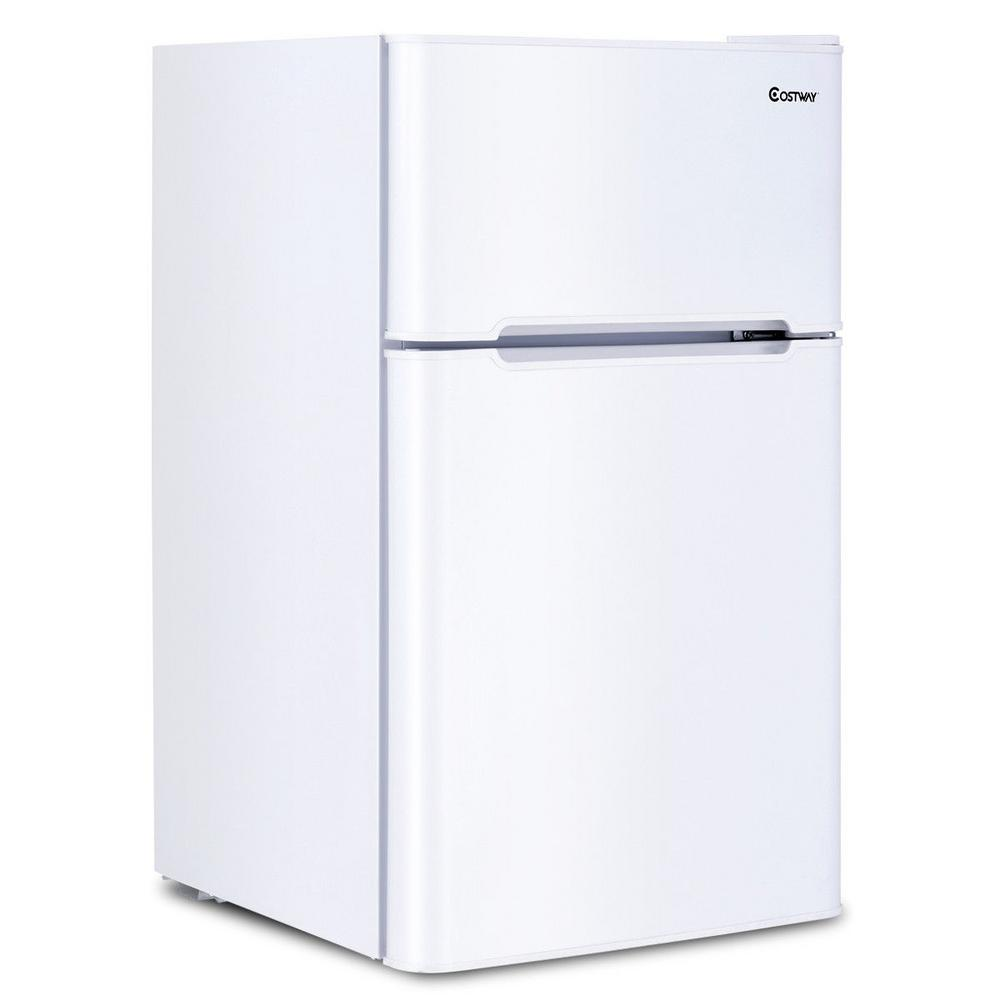 Costway 3.2 cu. ft. Mini Fridges Stainless Steel Refrigerator Small Freezer Cooler Fridge Compact Unit in White This 3.2 cu. ft. White Compact Refrigerator with Internal Freezer is ideal for smaller spaces like a dorm room, teen's bedroom or office. It is sized perfectly to keep drinks and small amounts of food cold and in a convenient location. The unit has a separate internal freezer for storing frozen treats or packages of meat. It makes the most out of the space it has with a full shelf, a small shelf and a crisper for storage. There is also a special Can dispenser and door bins to hold drinks on the inside of the door.