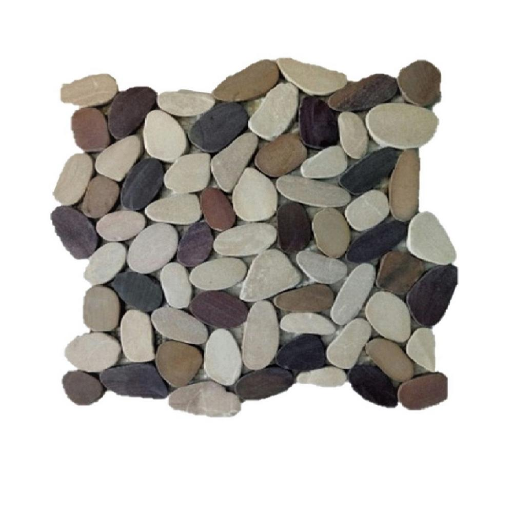 Rain Forest 12 In X Tan Brown And Cherry Honed Sliced Pebble Floor Wall Tile 5 0 Sq Ft Case