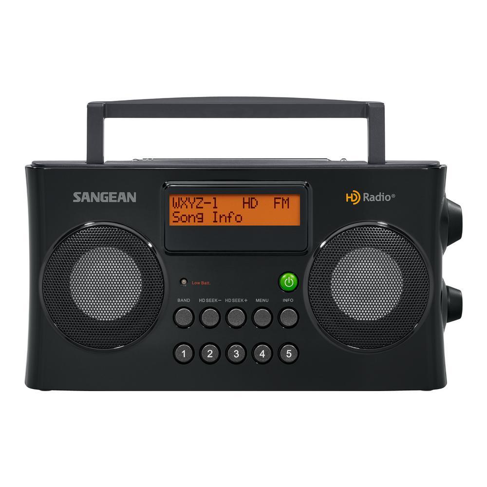 Sangean FM/AM HD Portable Stereo Radio, Black