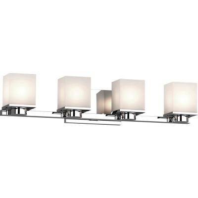 Sharyn 4-Light 8 in. Chrome Indoor Bathroom Vanity Wall Sconce or Wall Mount with Frosted Glass Square Rectangle Shades