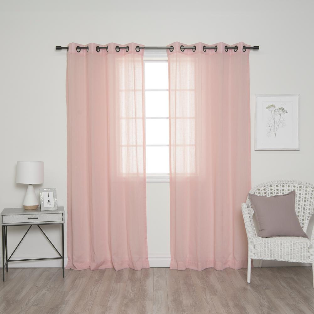 L Pink And Black Grommet Faux Linen Curtain 2
