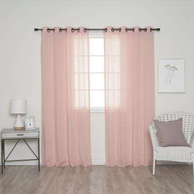 84 in. L Pink and Black Grommet Faux Linen Curtain (2-Pack)