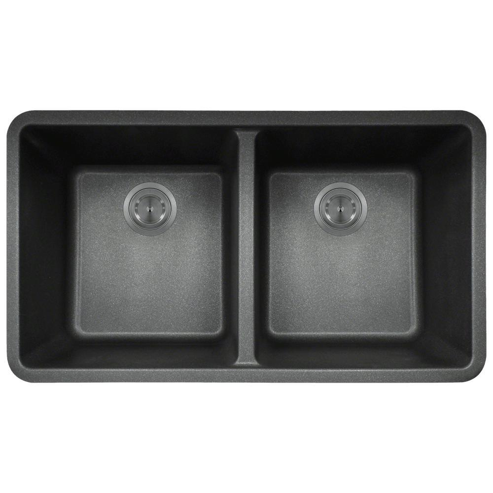 Mr Direct Undermount Granite Composite 32 5 In 0 Hole Double Bowl Kitchen Sink