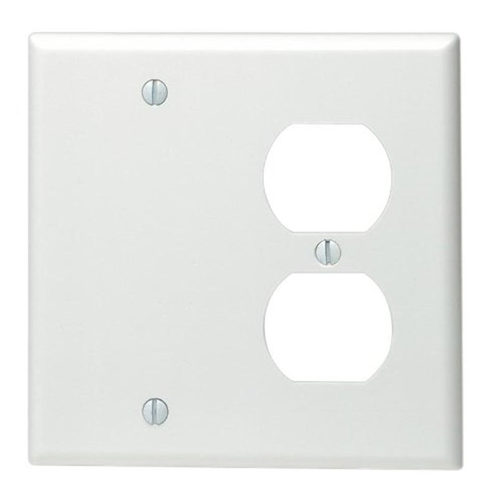Leviton 2 gang standard size 1 duplex receptacle 1 no for White wall combination