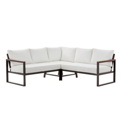 West Park Black Aluminum Outdoor Patio Sectional Sofa Seating Set with Standard White Cushions