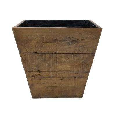 20 in. Square Composite Faux Wood Farmhouse Planter in a Weathered Wood Brown Finish