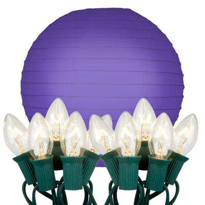 10 in. 10-Light Purple Paper Lantern String Lights