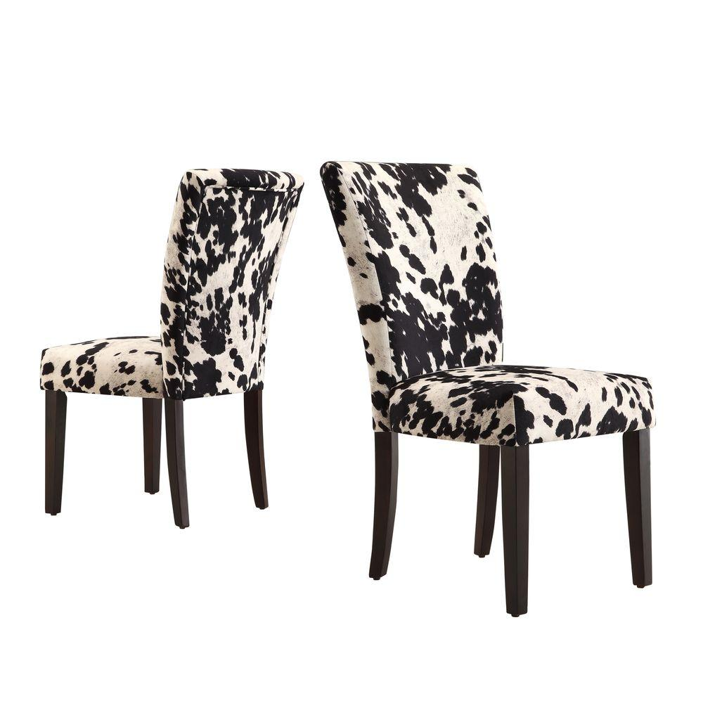 HomeSullivan Whitmire Black Cowhide Fabric Parsons Dining Chair (Set Of 2)