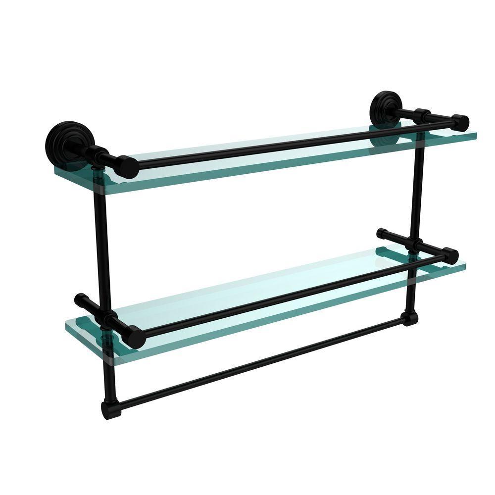 22 in. L  x 12 in. H  x 5 in. W 2-Tier Gallery Clear Glass Bathroom Shelf with Towel Bar in Matte Black