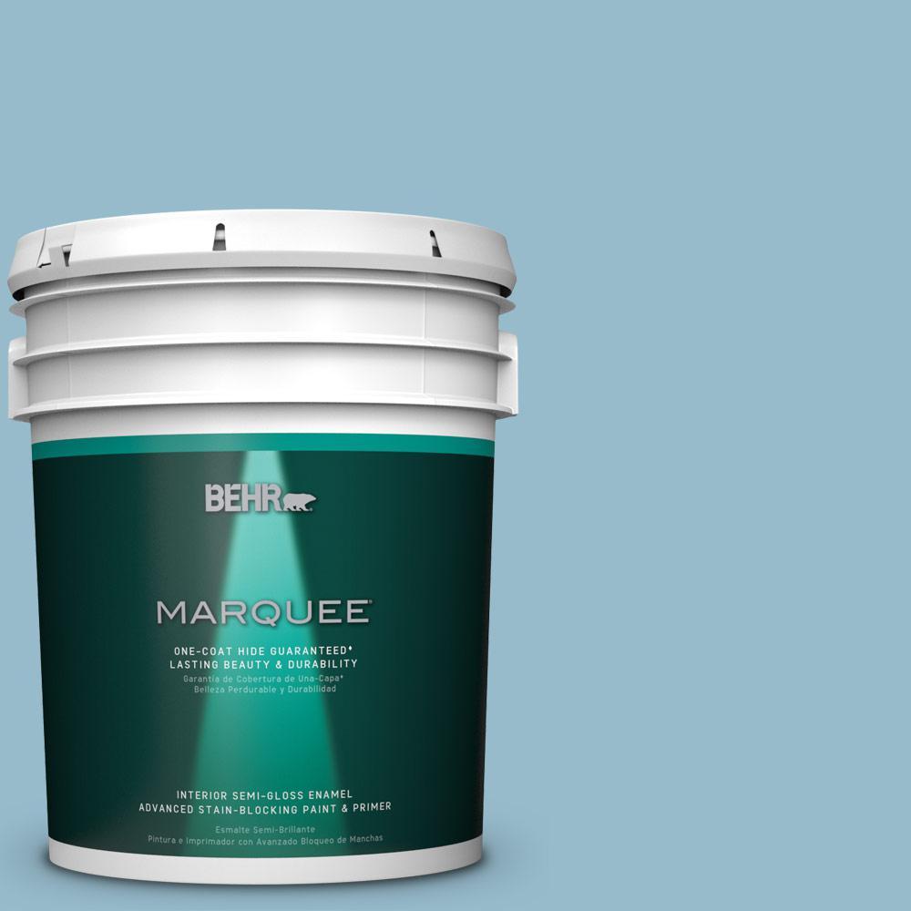 5 gal. #S480-3 Sydney Harbour One-Coat Hide Semi-Gloss Enamel Interior Paint