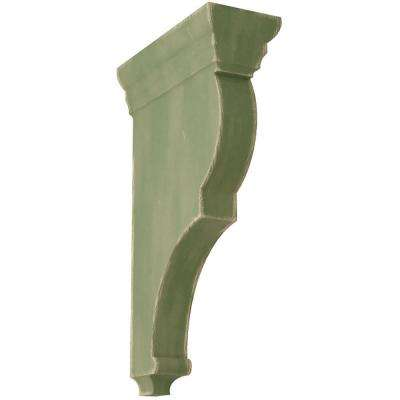 3-1/2 in. x 14 in. x 7-1/2 in. Restoration Green Extra Large Rojas Wood Vintage Decor Corbel