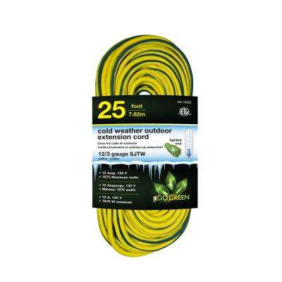 25 ft. 12/3 SJEOW Cold Weather Extension Cord with Lighted End