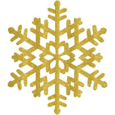 15 in. Gold Glitter Snowflake (4-Pack)