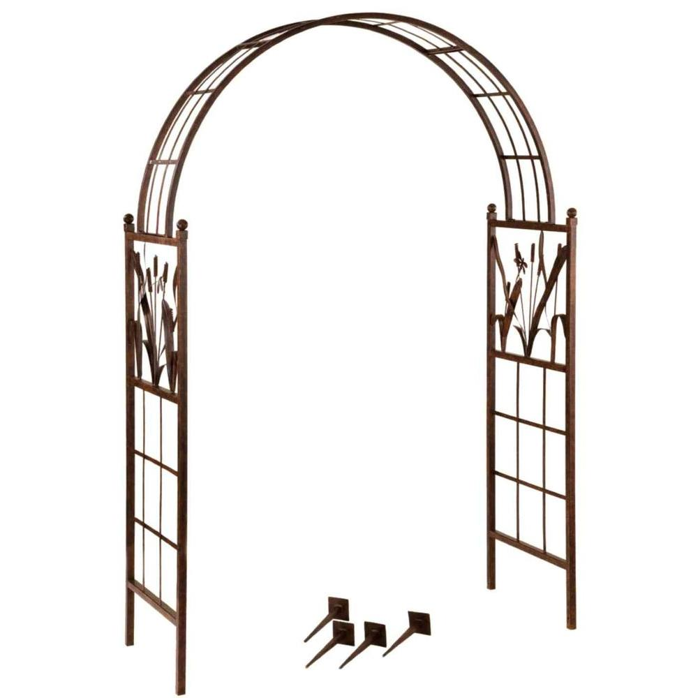 Deer Park 57 in. Wide Garden Arch with Dragonfly Motif Complete with Reeds and Cattails