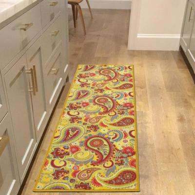 Sweet Home Collection Paisley Design Yellow 2 ft. x 5 ft. Indoor Runner Rug