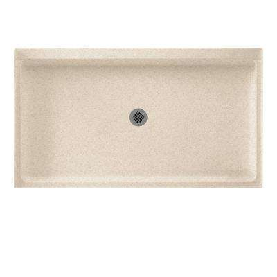 34 in. x 60 in. Solid Surface Single Threshold Center Drain Shower Pan in Bermuda Sand