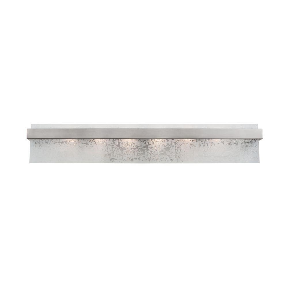 Varaluz Line Up! 6-Light Brushed Nickel Bath Vanity Light with Water Spot Glass