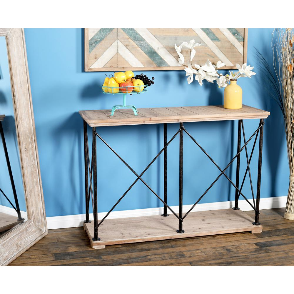 Null Brown Console Table With Metallic Black Frames