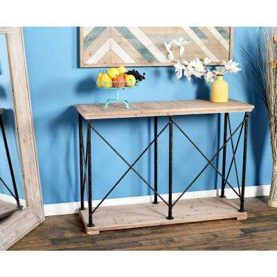 Brown Console Table with Metallic Black Frames