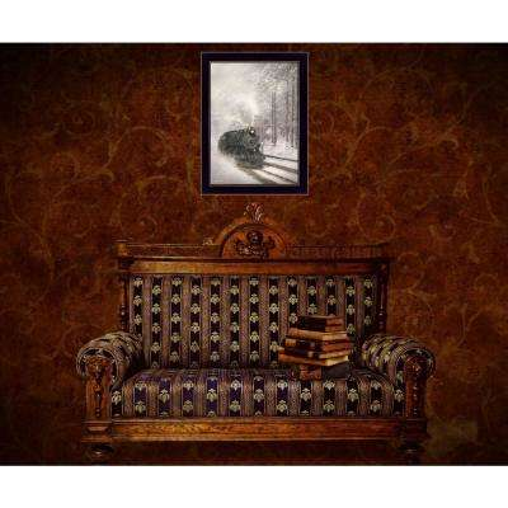 "20 in. x 14 in. ""Snowy Locomotive"" by Lori Deiter, Printed Framed Wall Art"
