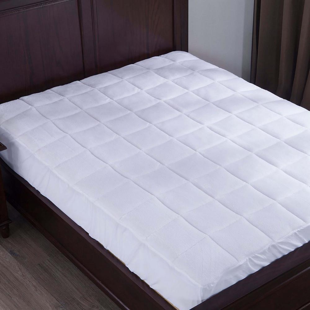 Puredown Plush Top Down Alternative Mattress Pad Full in White