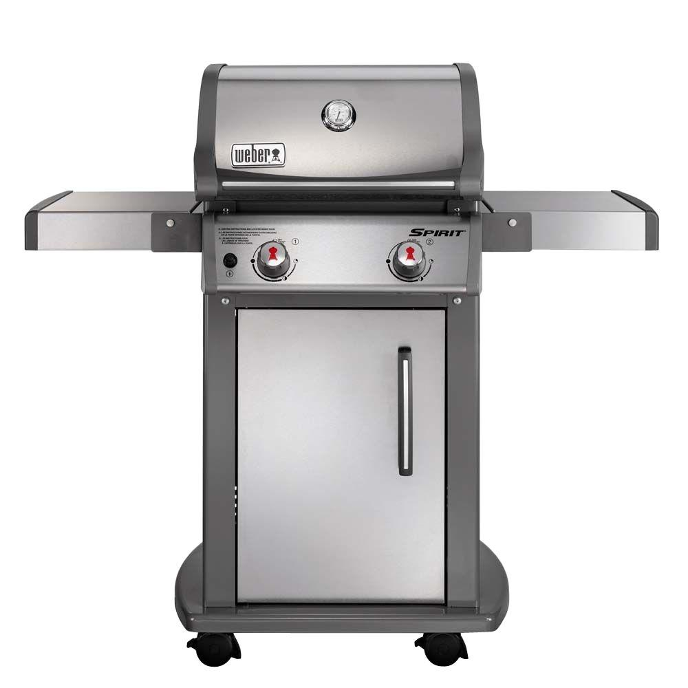 weber spirit s 210 2 burner propane gas grill in stainless steel with built in thermometer. Black Bedroom Furniture Sets. Home Design Ideas