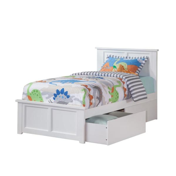 Atlantic Furniture Madison White Twin XL Platform Bed with Matching Foot