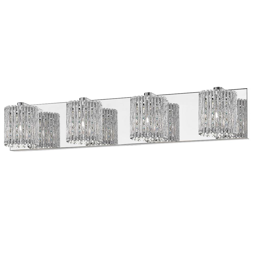 DSILighting DSI Lighting 28.25 4-Light Mirrored Stainless Steel Vanity Light with Clear Glass Crystal Strands
