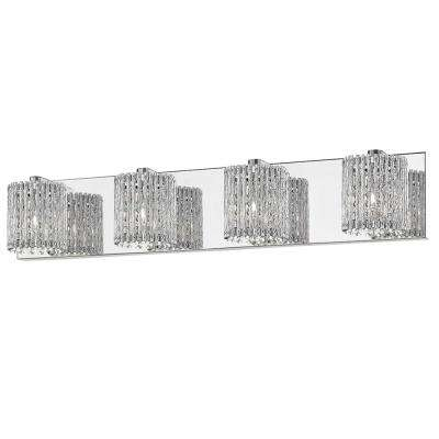 28.25 4-Light Mirrored Stainless Steel Vanity Light with Clear Glass Crystal Strands