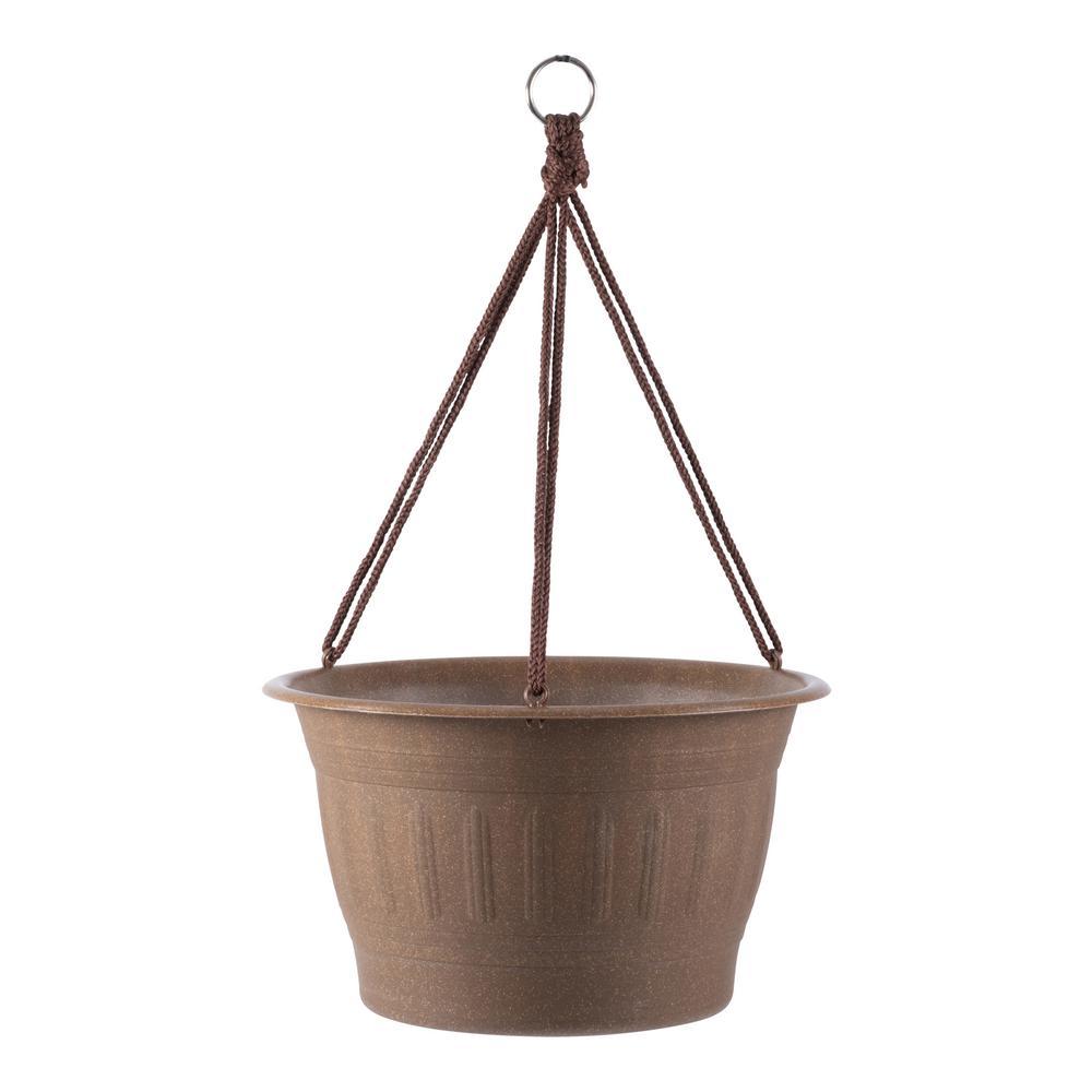 Colonnade 12 in. x 7.5 Dark Earth Wood Resin Hanging Basket Planter