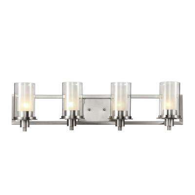 Cabernet Collection 4-Light Brushed Nickel Bath Bar Light with Frosted Inner Glass Shade