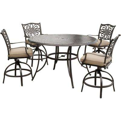 Traditions 5-Piece Aluminum Round Outdoor High Dining Set with Swivel Chairs with Natural Oat Cushions