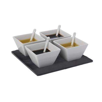 9-Piece Square White Basics Slate Dipping Set