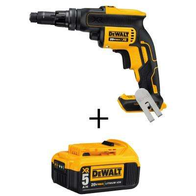 20-Volt MAX XR Lithium-Ion Cordless Screwgun with Adjustable Torque with Free Premium Battery Pack 5.0 Ah