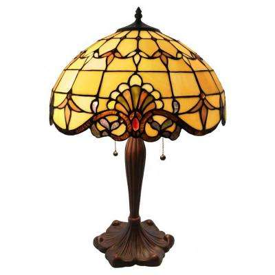 24 in. Amber Table Lamp with Allistar Stained Glass Shade