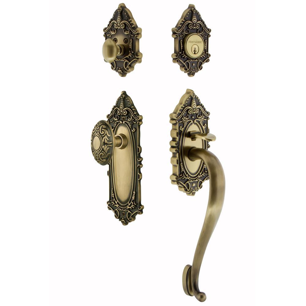 Victorian Plate 2-3/8 in. Backset Antique Brass S Grip Entry Set Victorian Knob