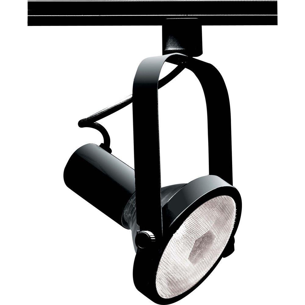 1-Light PAR38 Black Gimbal Ring Track Lighting Head