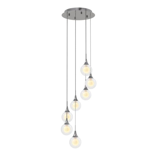 Frosted Globe 22-Watt Chrome Integrated LED Pendant