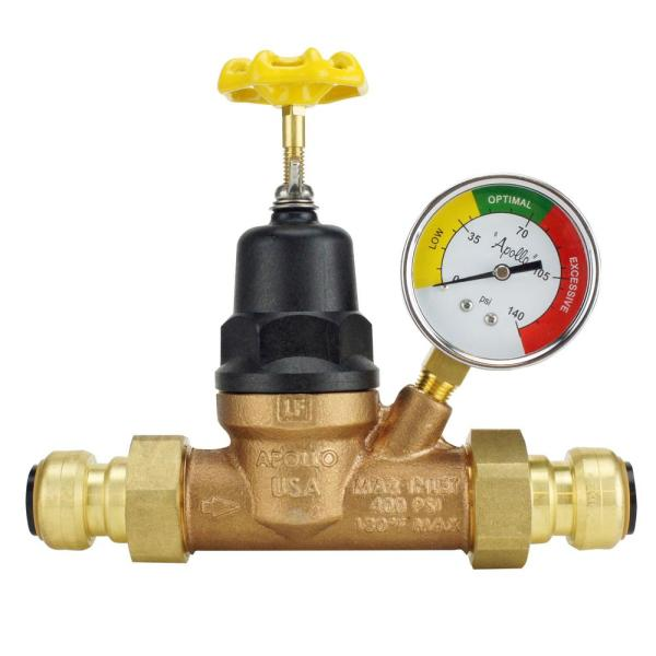 3/4 in. Bronze Double Union Push-To-Connect Water Pressure Regulator with Gauge