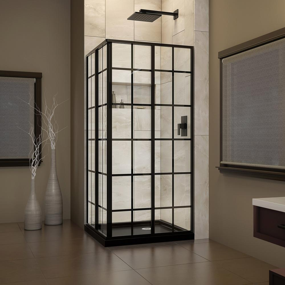 DreamLine 36 in. W x 36 in. D x 74.75 in. H Framed French Corner ...