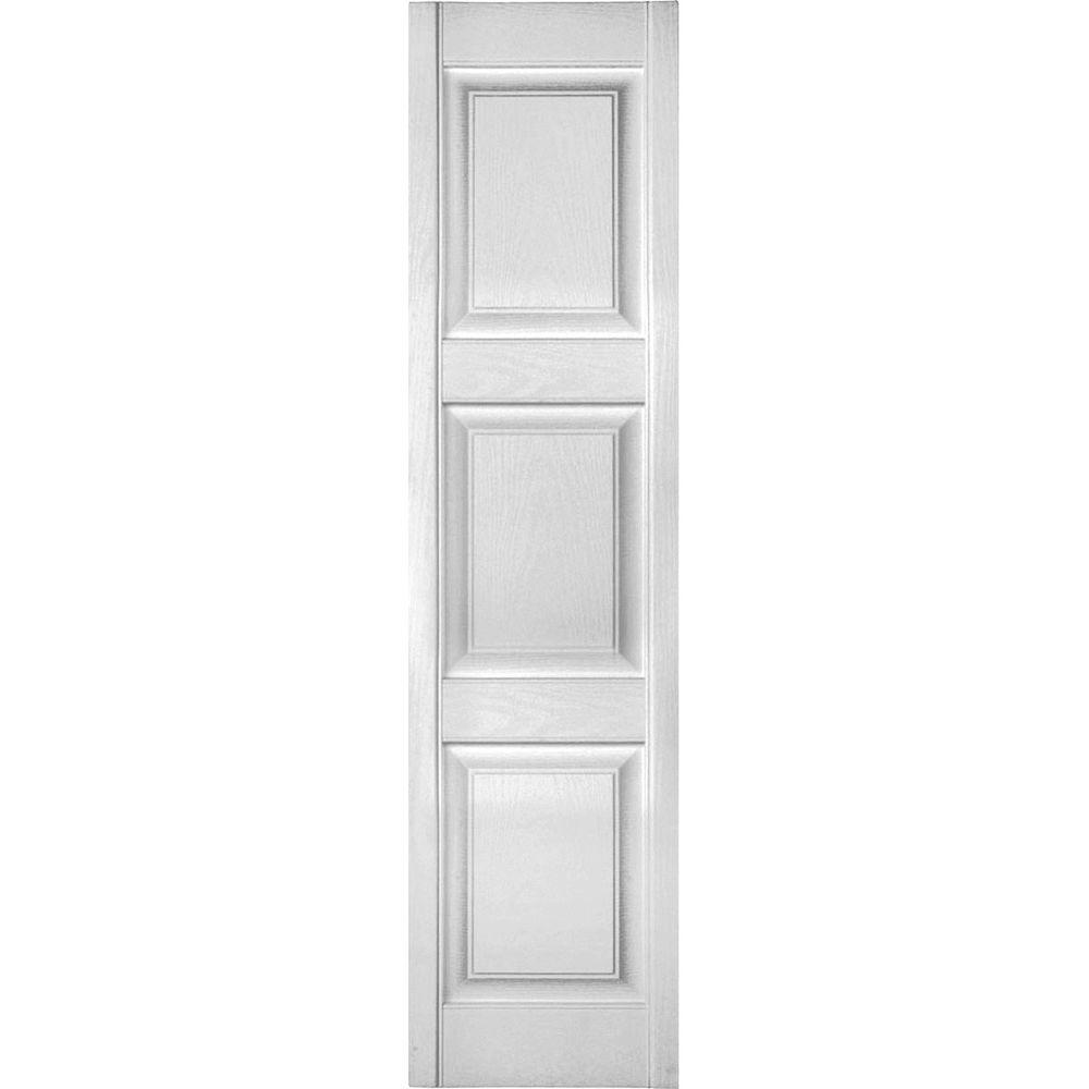 Ekena Millwork 12 in. x 59 in. Lifetime Vinyl Custom 3 Equal Raised Panel Shutters Pair Bright White