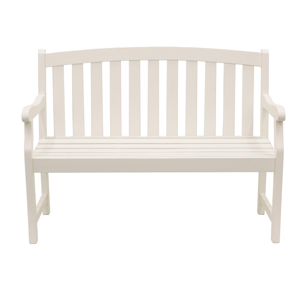 Marley 48 in. 2-Seat White Wood Outdoor Bench