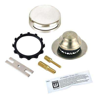 Universal NuFit Foot Actuated Bathtub Stopper with Grid Strainer, Innovator Overflow Silicone, 2-Pin Kit, Brushed Nickel