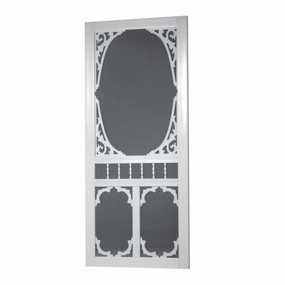 32 in. x 80 in. Charlestowne Solid Vinyl White Screen Door