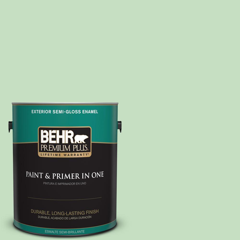 BEHR Premium Plus 1-gal. #450C-3 Green Myth Semi-Gloss Enamel Exterior Paint