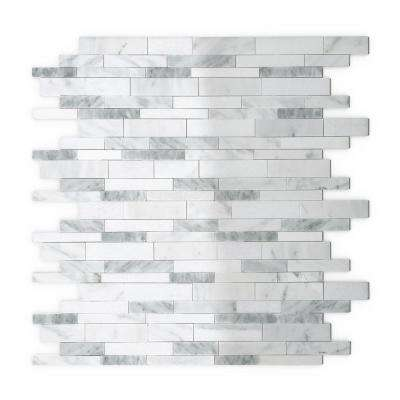 Gray Agate White and Gray 11.34 in. x 11.61 in. x 5 mm Stone Self Adhesive Mosaic Wall Tile