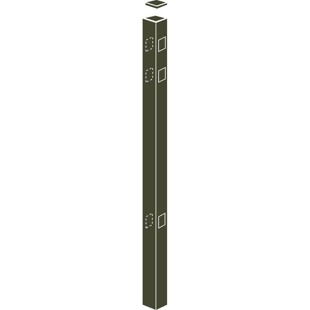 Allure Aluminum 82 in. Aluminum Bronze Fence Line Post Use with 54 in. Fence