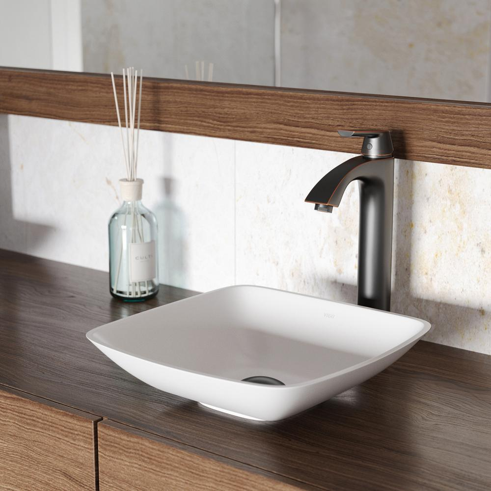 Vigo hyacinth matte stone vessel sink in white with linus for Antique stone sinks for sale